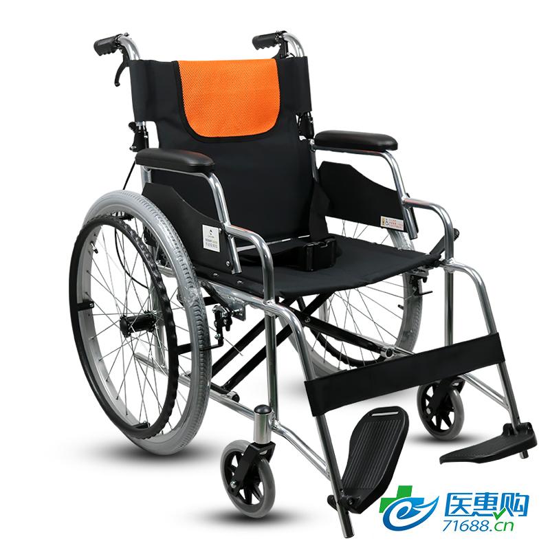 加加林 空心胎 铝合金手动轮椅折叠轻便便携旅行超轻老年代步车残疾人老人手推车