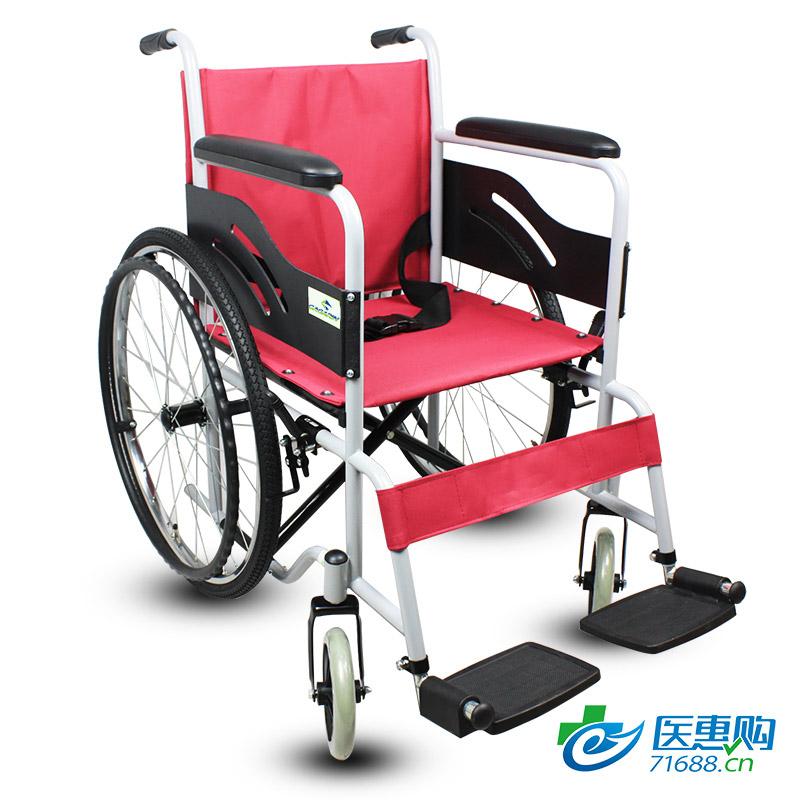 加加林 钢管加宽便携手动轮椅车 轻便折叠超轻小巧老年人家用轮椅残疾人代步手推车
